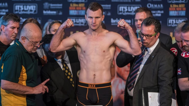 Jeff Horn only just managed to get under the limit at Tuesday's weigh-in on Tuesday.