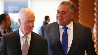 RBA governor Glenn Stevens and Treasurer Joe Hockey at the National Reform Summit.