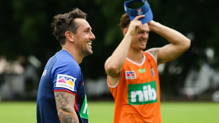 New signing Mitchell Pearce trains for the first time with the Newcastle Knights.