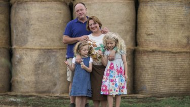 Sophie Mirabella with husband Greg and their daughters Kitty, 5, and Alexandra, 7.