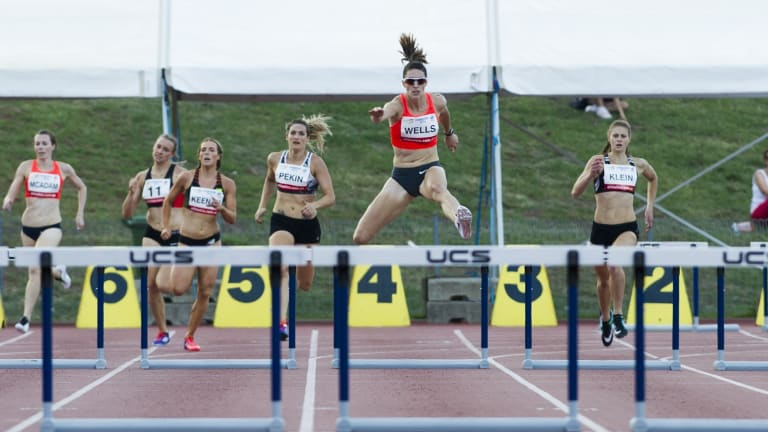 Giant leap: Lauren Wells is still weighing up hurdles-long jump double.