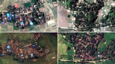 Two villages in Rakhine state, Myanmar, before and after they were destroyed: Kyet Yoe Pyin is shown at left in March and November  2016, and Wa Peik in 2014 and November 2016.