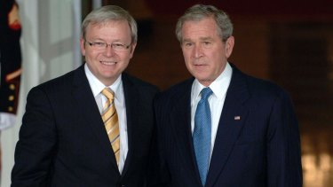 Prime Minister Kevin Rudd and George W Bush at the White House in 2008.
