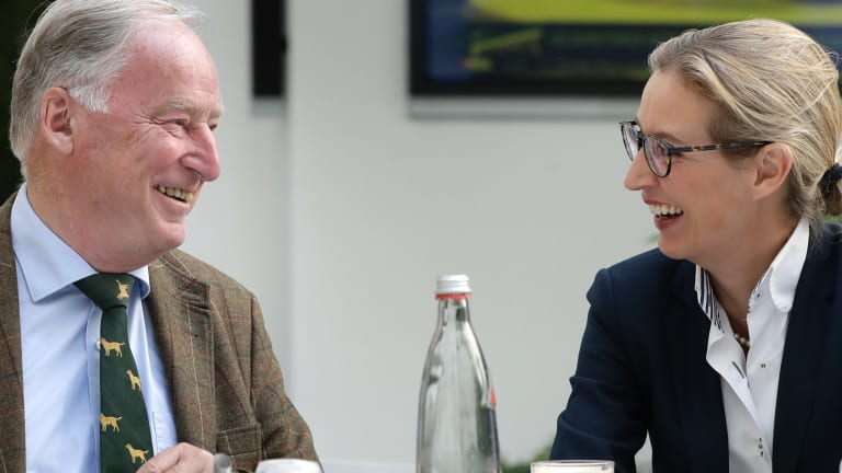 Alice Weidel, right, and Alexander Gauland, left, top candidates of the German AfD (Alternative for Germany) party for the upcoming general elections in Berlin, Germany.