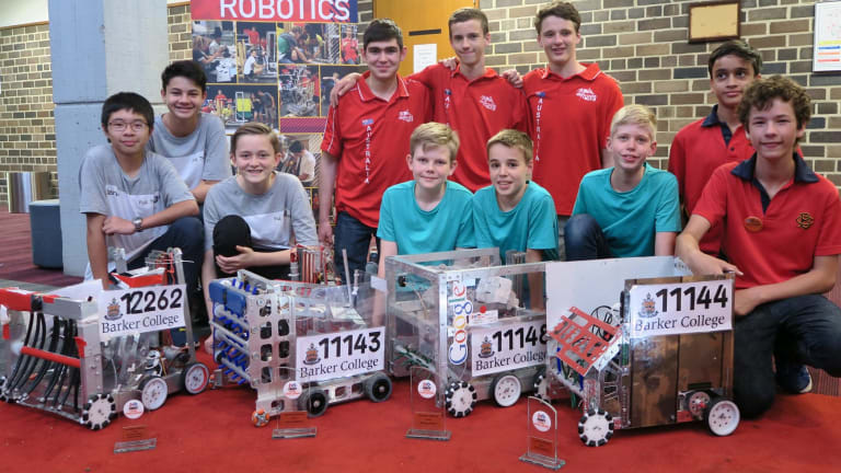Barker College robotics teams and their creations.