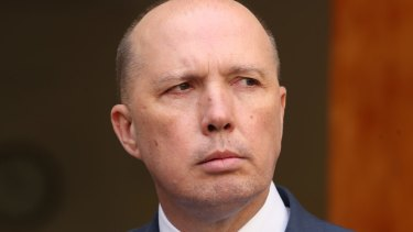 Peter Dutton was confronted about the 457 changes during a question and answer session at the Policy Exchange in London last month.