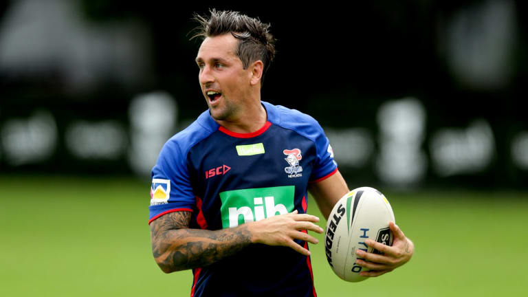 Ball in hand: Mitchell Pearce on the training paddock with the Knights for the first time.