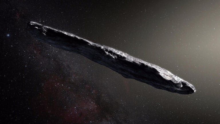An artist's impression of the interstellar asteroid Oumuamua.