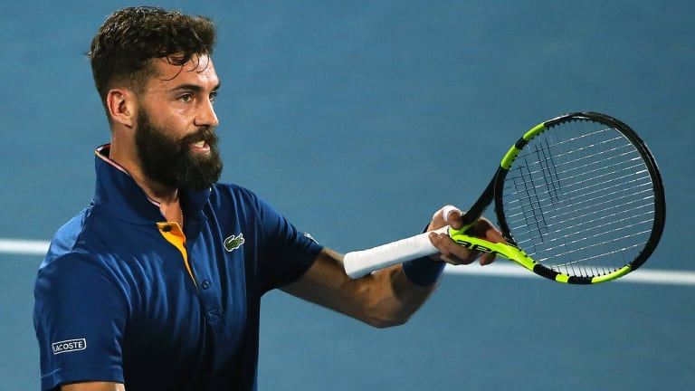 Well beaten: Manicured Frenchman Benoit Paire complains to the umpire to no avail.
