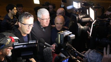 Child sex abuse survivors David Ridsdale, Phil Nagle and Andrew Collins speak to the media in Rome. The group says their request to meet the pope was never received.
