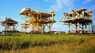 An abandoned production platform waiting to be sold at the Port of Iberia, Louisiana, USA.