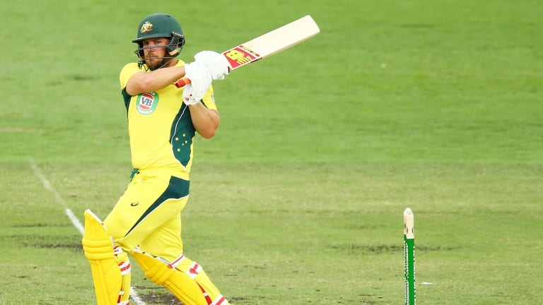 Aaron Finch of Australia on the way to a century against India in Canberra.