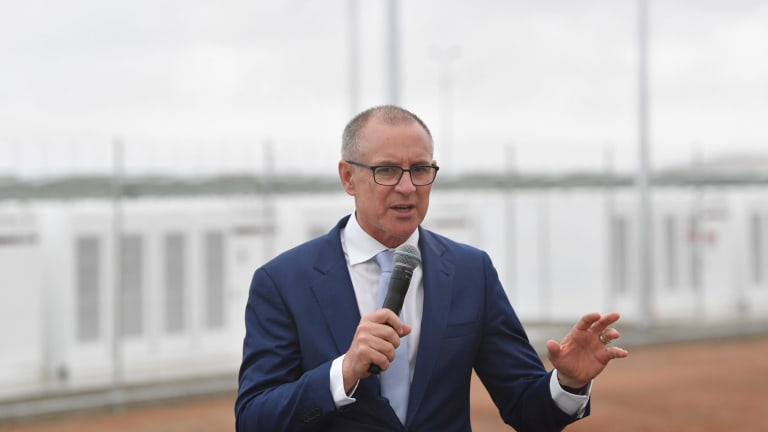 SA Premier Jay Weatherill during the launch of Tesla's 100 megawatt lithium-ion battery at Jamestown.