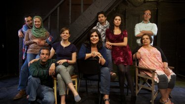 Cast of the play, Tales of A City by the Sea, when it premiered in 2014. Playwright Samah Sabawi is seated in the middle.
