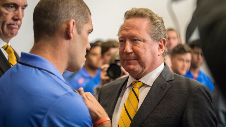 Ambitious: Andrew Forrest has a heart to heart with Force skipper Matt Hodsgon.