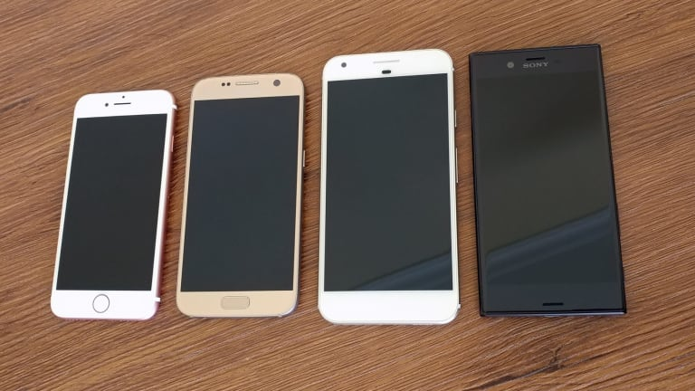 The XZ doesn't look like other 2016 phones. From left: the iPhone 7, Galaxy S7, Pixel XL and Xperia XZ.