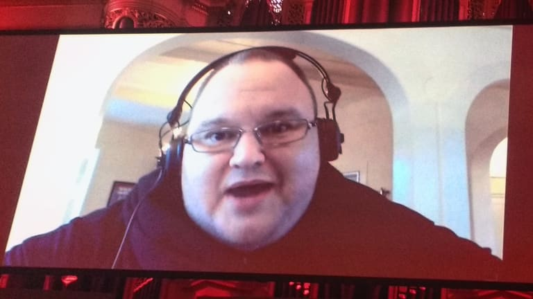 Kim Dotcom addresses the SydStart conference last month.