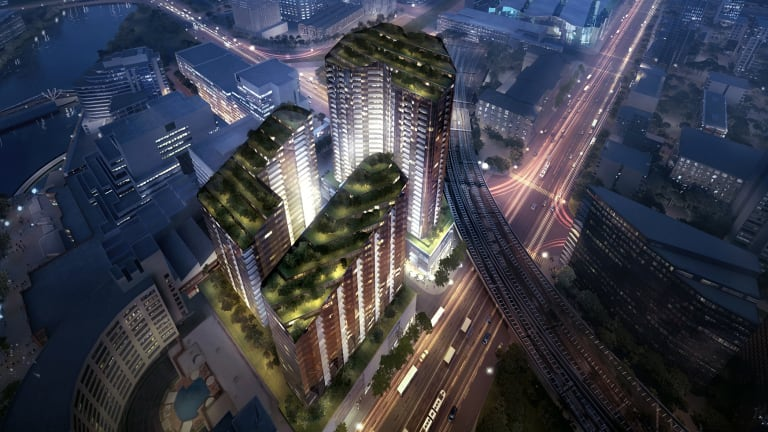What the garden-topped towers could look like at night.