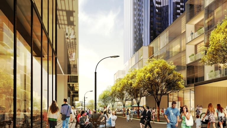 A view of the planned towers at street level.