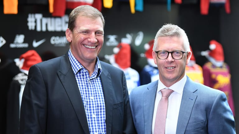 Michael Christian and Steve Hocking at the AFL's announcement on Thursday.