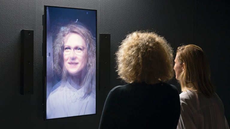 Rafael Lozano-Hemmer Redundant assembly 2015 interactive digital software, high definition screen, high definition video cameras. Collection the artist.
