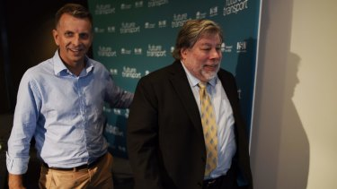 """Apple co-founder Steve Wozniak and Mr Constance at the """"Future Transport"""" summit."""