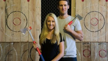 Steve Thomas and Lindsay Sharp in the St Peters warehouse where they are hoping to set up an axe throwing venue, depending on council approval.