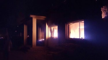 The Doctors Without Borders trauma centre is seen in flames, after explosions near their hospital in the northern Afghan city of Kunduz on October 3.