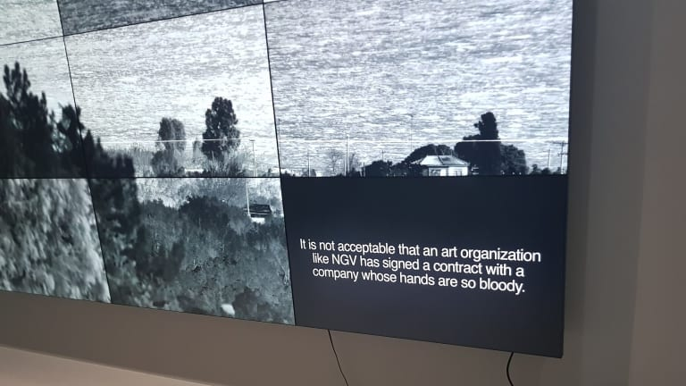 Richard Mosse's Incoming was updated to include commentary from former Manus Island detainee Behrouz Boochani about NGV's contract with Wilson Security.