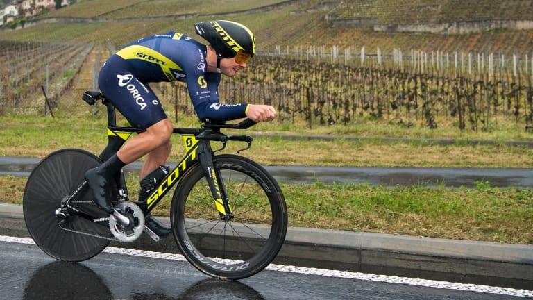 Alex Edmondson, pictured riding in Europe last year, won the men's road title.