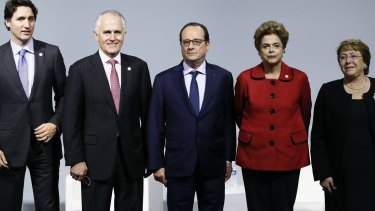 Canadian Prime Minister Justin Trudeau, Australian Prime Minister Malcolm Turnbull, French President Francois Hollande, Brazilian President Dilma Roussef and Chilean President Michelle Bachelet at the Paris summit.
