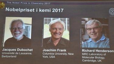 Nobel winners, from left: Jacques Dubochet, Joachim Frank and Richard Henderson.