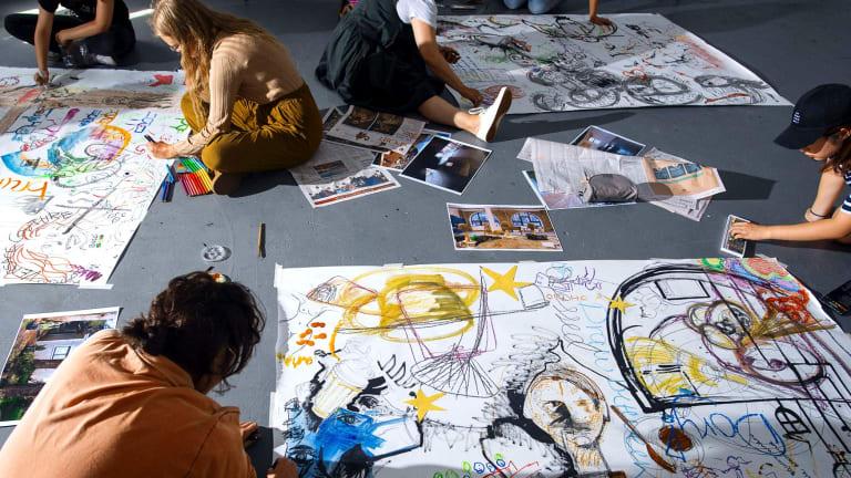 National Art School students work in the drawing studio.