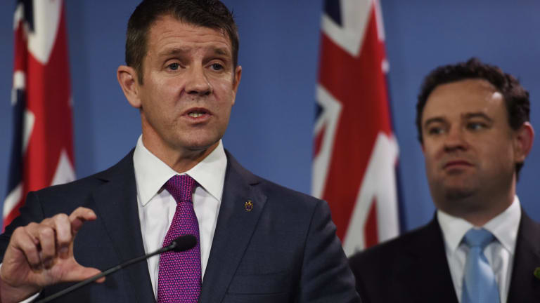Premier Mike Baird and Sports Minister Stuart Ayres in September when they announced $1.6 billion in funding for stadiums over the next 10 years.