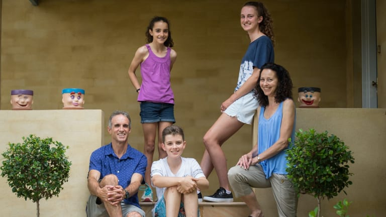 Daven and Karen Timms with their children, Eve and Eden, who attend Barker College, and Sierra, 11.