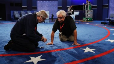 Preparations for the second presidential debate at Washington University in St Louis.