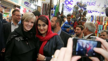 News spread quickly of Foreign Minister Julie Bishop's trip to a bazaar in Tehran, where western politicians are a rare sight.