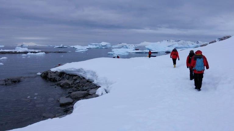 Homeward Bound 2016 participants at Portal Point on the Antarctic Peninsula.