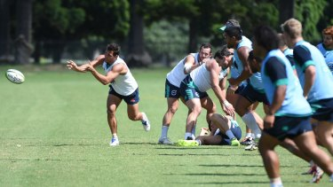 Half Nick Phipps at Waratahs training for the game this Friday night against The Chiefs at Campbeltown Stadium.