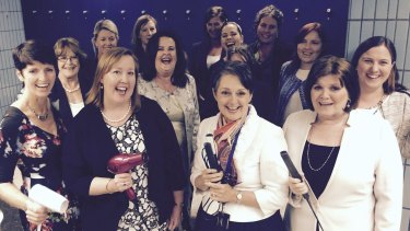 Straightened times: Pru Goward (centre) joins women protesting for better facilities at Parliament.