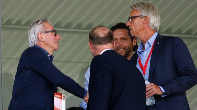 Big wigs: New Socceroos coach Bert van Marwijk greets FFA boss David Gallop at Central Coast Stadium.