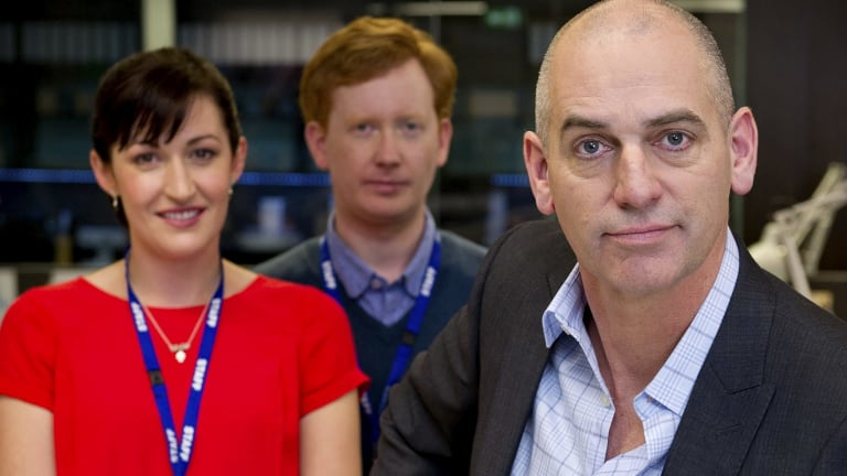 Celia Pacquola, Luke McGregor and Rob Sitch in <i>Utopia</i>.