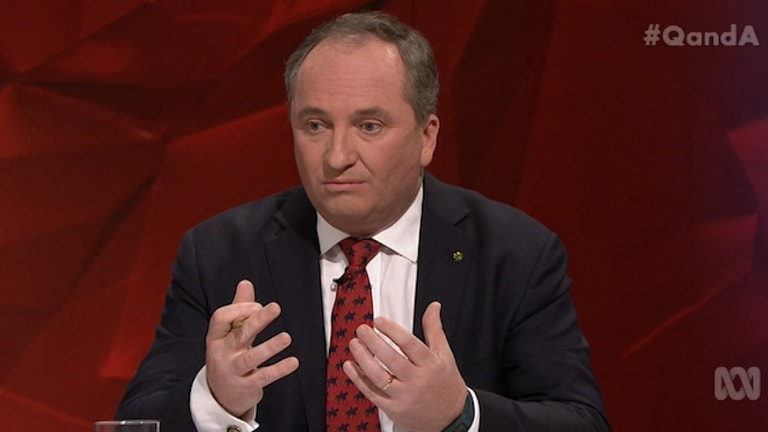 """Barnaby Joyce said the ABC sometimes pays too much attention to questions that are """"inside the beltway and have zero and nothing to do with our lives out there"""" on <i>Q&A</i>."""