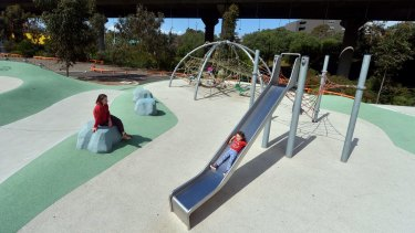The East West link will be built over the Debney's Park playground.