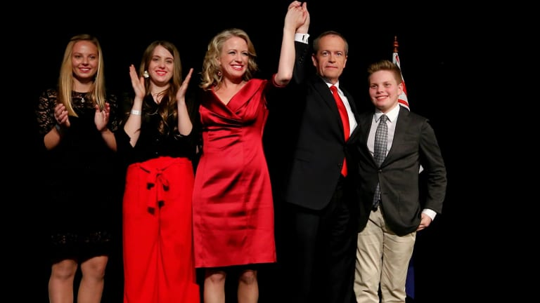 Bill Shorten with his family and niece at Labor's election night function.