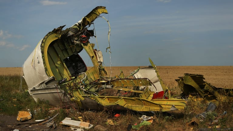 The rear fuselage of flight MH17 at the Ukrainian crash site in 2014.