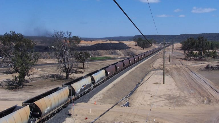 Coal railway to the Wilpinjong mine, near Mudgee, north-west of Sydney.