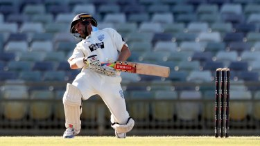 NSW batsman Ed Cowan avoids a bouncer on day 2 of the Shield match against Western Australia at the WACA.