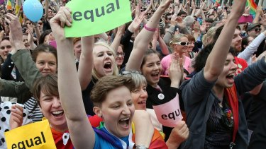 Jubilant campaigners outside Dublin Castle after Ireland's marriage equality referendum result was confirmed.