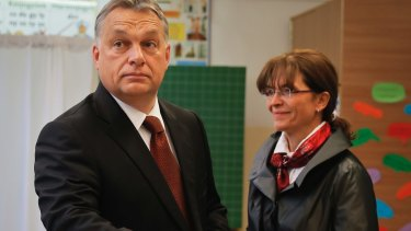 Hungarian Prime Minister Viktor Orban casts his vote in the referendum.